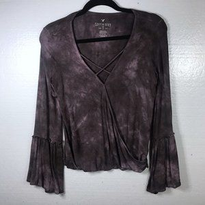 American Eagle S Soft & Sexy Purple Bell Slv Top